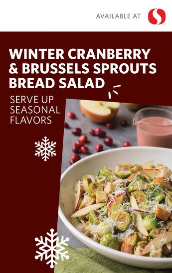 Combining the best of winter ingredients– Brussels sprouts, apple, cranberry, maple syrup–this seasonal salad is packed with unique flavors, perfect for any holiday gathering. The tangy homemade dressing in this Winter Cranberry & Brussels Sprouts Bread Salad will seamlessly pair with any main course, whether it be ham or turkey. Get all the ingredients for this unique and delicious side salad at your local Safeway just in time for your next holiday celebration!