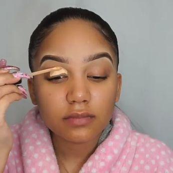 Golden shadow and pink lips  perfect combo😍 -  eye-makeup