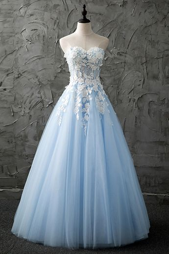 9d072d1aaef Sweetheart blue tulle long customize evening dress with appliques
