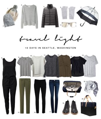 """Trying to figure out what to pack for that trip to Seattle. Keep it light and simple and make sure to pack items that can be mixed and matched together. Valencia Passport Chic """"Stamped In Style"""""""