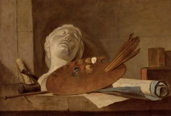 Page: The Attributes of Painting and Sculpture Artist: Jean-Baptiste-Simeon Chardin Completion Date: c.1728 Style: Rococo Genre: still life Technique: oil Material: canvas Dimensions: 64 x 92 cm Gallery: Private Collection