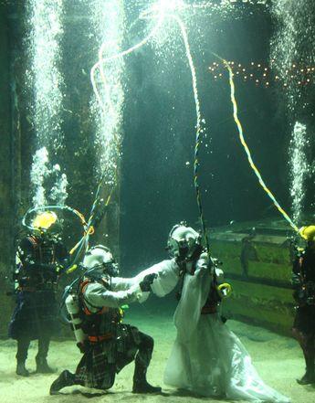 In seasickness and in health: Underwater wedding   BBC News