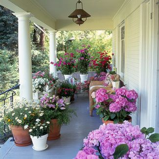Spring flowers on porch.