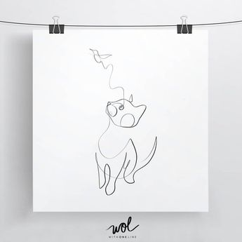 Best Selling Cat Print, Black and White Cat, Cat Line Art, Minimal Cat, Minimalist Cat, Cat and Bird, One Line Drawing, One Stroke, Cat Gift