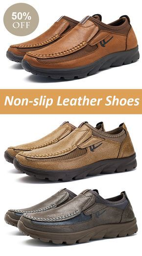 【2 / US$58】US$31--Mens Large Size Hand-stitching Non-slip Casual Leather Shoes#casual #style #shoes