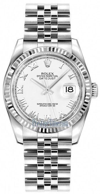 Rolex Datejust 36mm Stainless Steel 116234 White Roman Jubilee