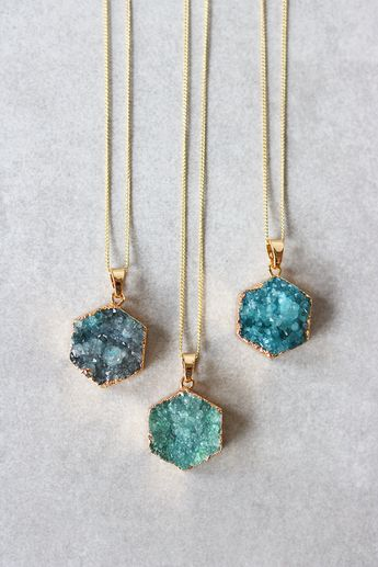 "Up your long necklace game with this Druzy hex pendant. Details: - 28"" - Lobster clasp closure - Gold plated metal chain - Last photo shows Dusty Blue, Emerald, and Teal, in that order"