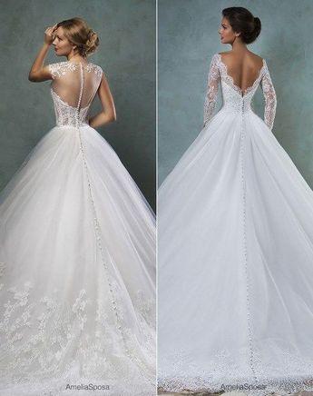 a0799cf1476 Robe De Mariage Short Sleeves Wedding Dresses Lace Applique