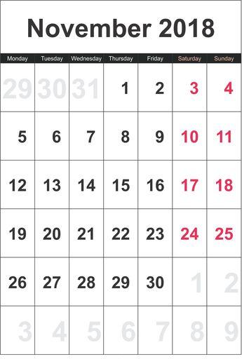 November 2018 Calendar Printable Templates Blank Excel PDF