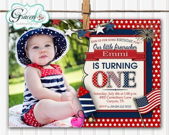 4th Of July Invitation 1st Birthday Invite First