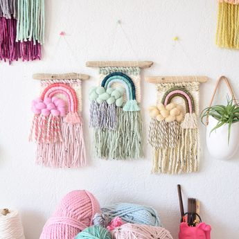 Rainbow rain cloud wall hangings for nursery art. Pink mint or neutral mini small handwoven decor. Made to order or custom weavings
