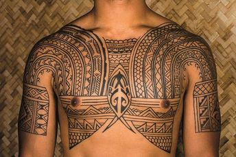 Hand-tapped and hand-poked neo-Kalinga chest piece, #Polynesiantattoos