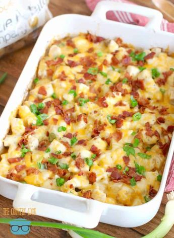 Loaded Potato Ranch Chicken Casserole is a whole dinner in one! All topped with melty cheese and bacon. It is heaven on a plate!