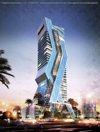 Tower Concept designed by Mahmoud Ghonem   2015. #Marina #Dubai #UAE