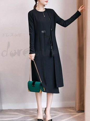 4418086045511 ファッション通販 #Fashion Doresuweカジュアル無地リボンコートレディースファッションボディコンスカート通勤気質