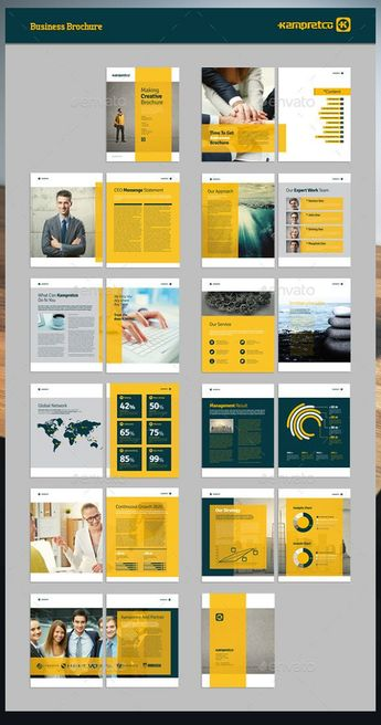 Business Brochure 22 Page Indesign Document US letter and A4 size Compatible with Adobe Indesign CS4 or Later 0.25 in. bleed Automatic page numbering Vector Element