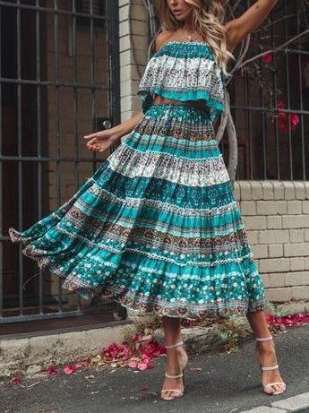 Boho Printed Sleeveless Top + Skirts Suits