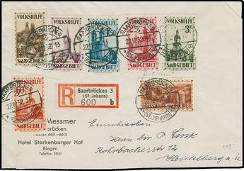 B37-43, 1932 Welfare, set tied on registered cover by Saarbrucken (St. Johann) 22.12.32 cancels, accompanying registry label, backstamped Heidelberg, Very Fine and attractive; 2007 Ney certificate (Scott $690 for used set; Michel 161-67, EUR800 for used set) Estimate 400-500 US$  Dealer H.R. Harmer  Auction Opening Bid: 230.00US$ (app. 176 EUR)