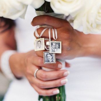 Walk me down the aisle - Wedding Jewelry charms to hang from bouquet - Photo memory pendant for keepsake includes everything you need