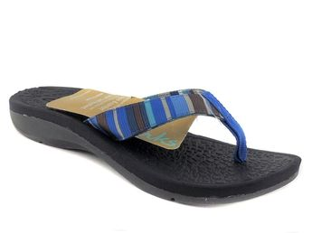 760a5ca954a Clarks of England Women s Tate Muse Thong Flip Flops Blue Multi Size 6 (B