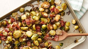 Sheet-Pan Roasted Brussels Sprouts, Bacon and Shallots