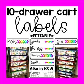 10 Drawer Cart Labels EDITABLE