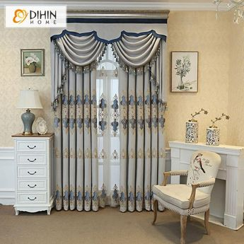 DIHIN HOME European Blue Embroidered,Blackout Curtains Grommet Window Curtain for Living Room ,52x84-inch,1 Panel