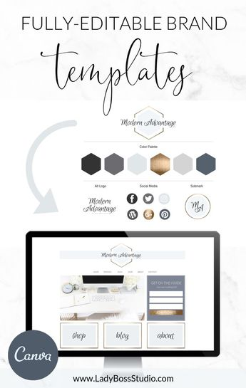 Looking for the perfect DIY logo for your business? This logo template and web branding bundle for Canva is the answer! Get your branding and brand style looking professional and done in minutes! This kit has all of the brand elements you need for your website! Works great for WordPress, any blog or website platform! #canvatemplate #canva #logo #branding