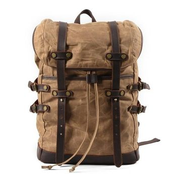 Men Vintage Leather Waterproof Waxed Canvas Laptop Backpack 15.6 inch bbbc8dc4fd36d