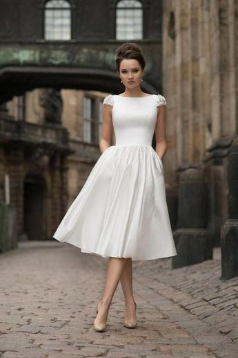 Beaded Capped Sleeves Tea-length Bridal Gown with Pockets