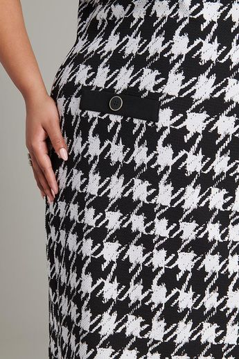 Nora Houndstooth Print Plus Size Dress