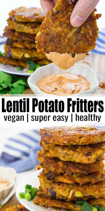 These potato fritters with red lentils are super easy to make and so delicious! They're best with spicy sriracha mayonnaise! Find more vegan recipes and vegan dinner ideas on veganheaven.org! #vegan #veganrecipes #vegetarian