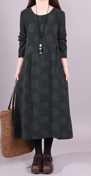 05e92135186b DIY cotton linen quilting clothes plus size Loose Long Sleeve Cotton Linen  Print Dress
