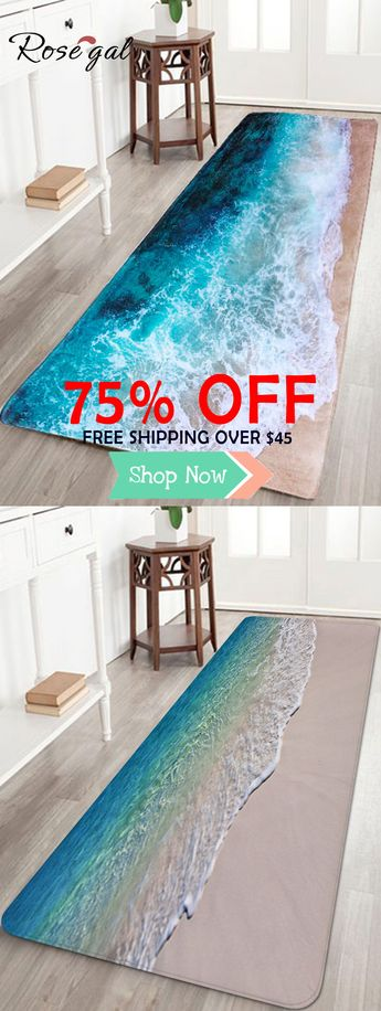 Sea Beach Print Flannel Skidproof Water Absorb Carpet | #Rosegal #bathrugs #floordecor #homedecor