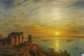 """Ernst Karl Eugen Koerner: """"Der Krokodilstempel von Kom Ombo am Nil"""" aus unserer Rubrik: Gemälde des 19. Jahrhunderts"""