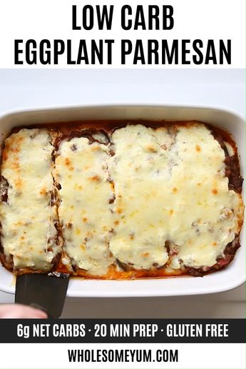 Low Carb Eggplant Lasagna Recipe Without Noodles - This healthy low carb eggplant lasagna recipe without noodles is quick and easy to make, using simple ingredients. Just 20 minutes prep time! #wholesomeyum #keto #lowcarb #dinner #glutenfree  #ketodinner #lowcarbdinner