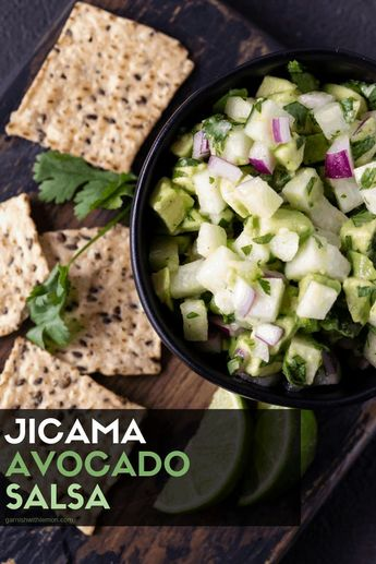 Cool and refreshing jicama gives this Chunky Avocado Jicama Salsa an addicting crunch. Pair it with chips and margaritas for the perfect happy hour! #salsa #happyhour #jicamarecipe #avocado