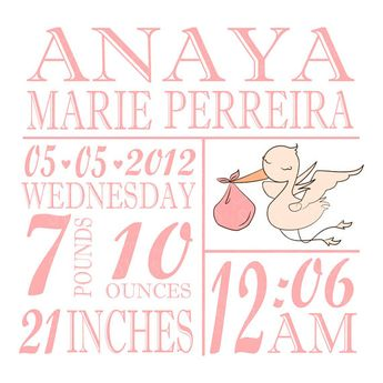 svg baby birth stats with banner instant download this