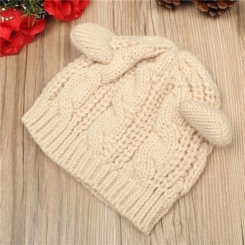 67b807d6afe0e Women Devil Horns Cats Bear Ear Hat Crochet Braided Knit Ski Beanie Cotton  Acylic Hat Wool