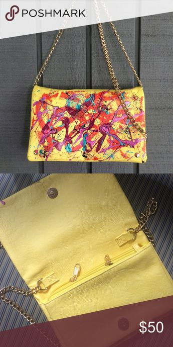 H&M yellow painted purse, gold chain Cute but classy! H&M yellow hand-painted purse with gold chain. NWOT. 2 zipper pockets inside. Painted by: Nicole Royer Art H&M Bags Shoulder Bags