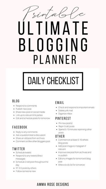 I designed printable sheets that were dedicated specifically to growing a blogging business. Not only are there monthly and weekly editorial calendars, but there is also designated pages for each aspect of a blogging business: a social media schedule, checklists for before and after publishing a post, a post-layout guide, SEO Guide, email marketing planner, content manager, and so much more!