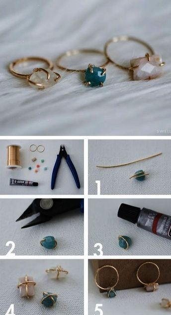 DIY Jewellery - make your own dainty stone set wire ring on #Beebeecraft.