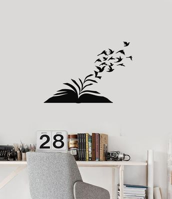 Vinyl Wall Decal Open Book Birds Library Reading Corner Room Stickers Mural (ig6057)