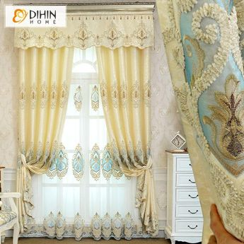 DIHIN HOME Beige and Light Blue Embroidered,Blackout Curtains Grommet Window Curtain for Living Room ,52x84-inch,1 Panel