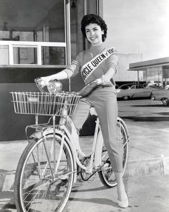 American actress Annette Funicello on a Schwinn Bicycle, 1956. She is...