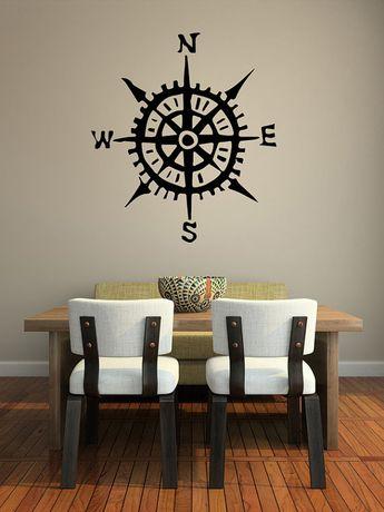Compass Decal, Compass Wall Art, Nautical Wall Decor, Nautical Nursery, Beach Decor, Coastal Decor Beach, Coastal Wall Decor, Dorm Decor