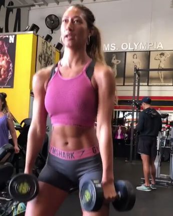 @karinaelle takes us through arm day, get ready! Start with Bicep Curls, then Concentrated Barbell Curl, thirdly try some Cable Tricep Extensions and finally Dips. #Gymshark #Fitness #Workout #Gym #Arms #Exercise #Muscles #Weights