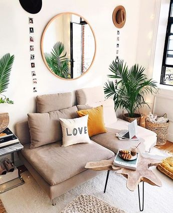 Simple colors and modern feel with sparks of colors through plant life. Love this!
