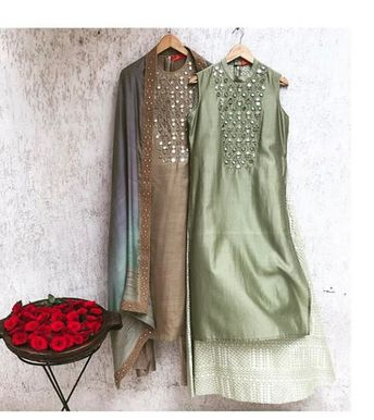 Beautiful Chanderi Kurtis with traditional embroidery embellishments.