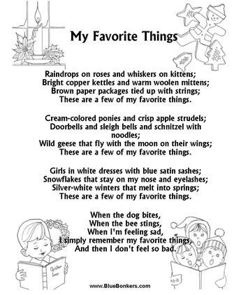 Printable Christmas Carol Lyrics sheet : My Favorite Things #songstosingtobaby